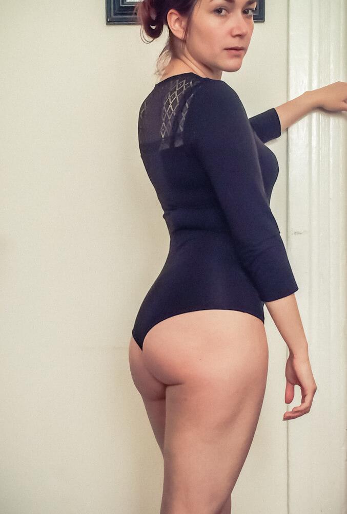 Les Lunes Scoop Neck Lace Bodysuit - side view.