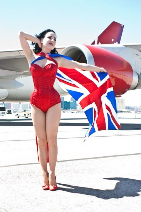 "Dita wearing ""The Grable,"" a Dark Garden custom corset originally designed for her to wear at an event for Virgin Atlantic."