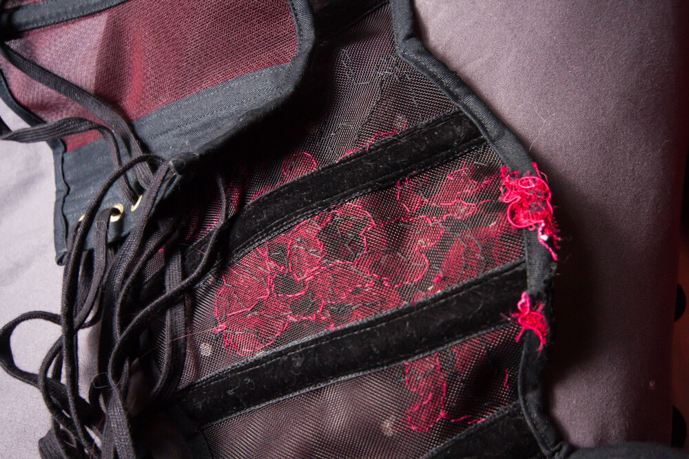 Interior detail of Sparklewren sheer cincher, with velvet internal casings and visible, tidy handstitching from the appliqué.