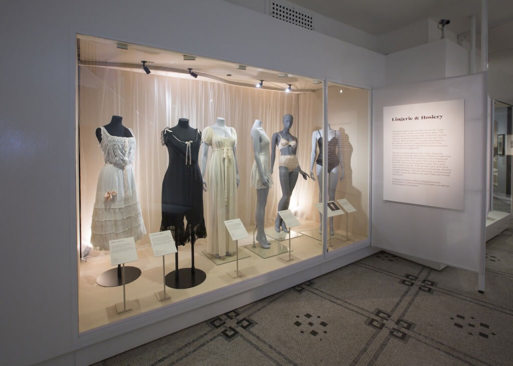 Installation View of Undressed: A Brief History of Underwear (c) Victoria and Albert Museum, London.