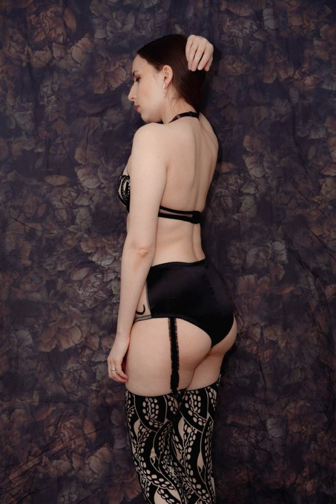 'Kraken' lingerie set and 'Ursula' stockings by Videnoir. Styled with a suspender belt by Chantal Thomass. Photography by K. Laskowska