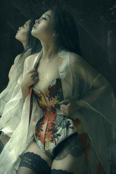 9475ea6d27 Corset and lingerie by Karolina Laskowska. Modelled by Twig