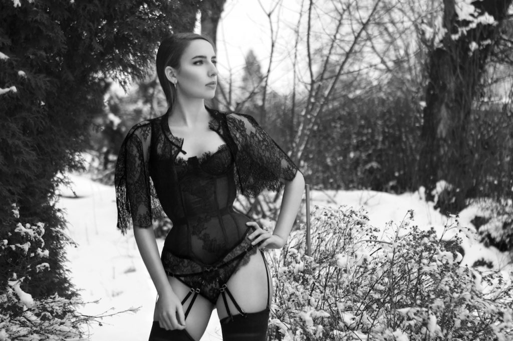 Karolina Laskowska 2017 'Taakeferd' Lingerie Collection. Mesh and lace corset with lace capelet. Taken in winter Norway.