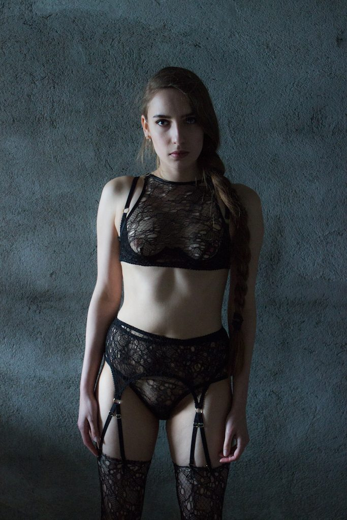 Karolina Laskowska 2017 'Taakeferd' Collection. French lace high neck bra with matching knicker, garter belt, and stockings. Handmade luxury.
