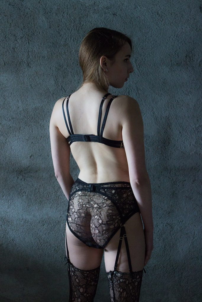 Karolina Laskowska 2017 'Taakeferd' Collection. French lace brief, garter belt, and stockings. Limited edition luxury.