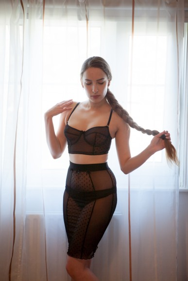 Impish Lee longline balconette bra and pencil skirt. Photo by K Laskowska