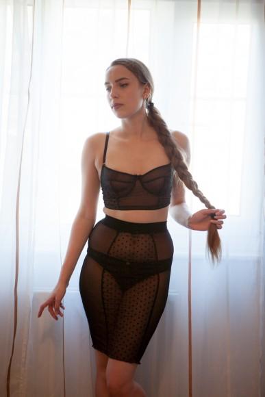 Impish Lee balconette longline bra and pencil skirt. Photo by K Laskowska