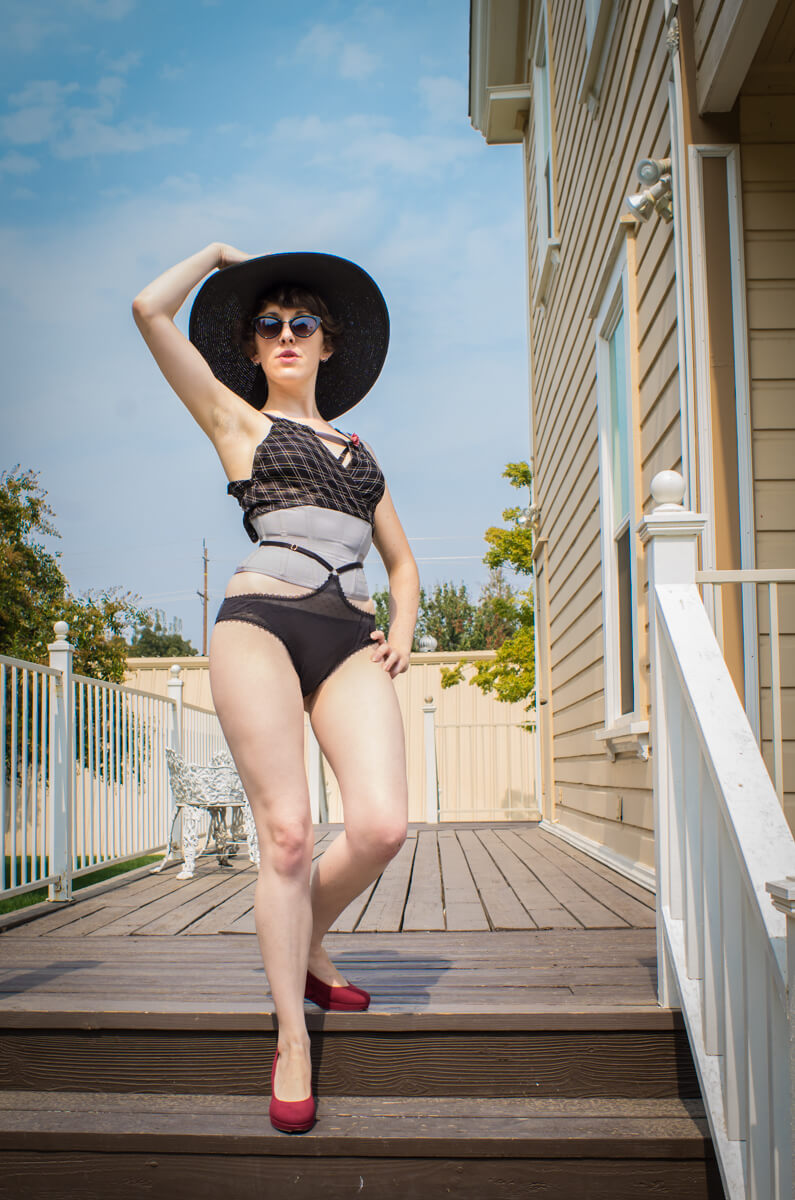 "Pop Antique integrated ""Bombshell"" waspie with built-in mesh top; knickers by Karolina Laskowska 