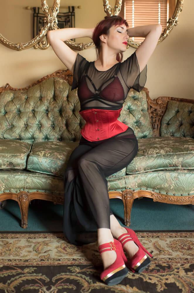Sheer Show Pantsuit by Dottie's Delights | Styled with Karolina Laskowska lingerie & Dark Garden corsetry | Model: Victoria Dagger | Photo © Alyxander Ryan