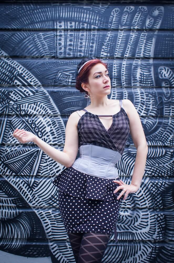"""Pop Antique Integrated Corset """"Bombshell"""" with attached mesh top   Model: Victoria Dagger   Photo © Alyxander Ryan"""