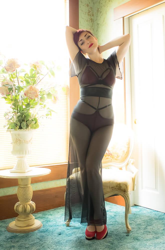 Sheer Show Pantsuit by Dottie's Delights | Styled with Karolina Laskowska lingerie | Model: Victoria Dagger | Photo © Alyxander Ryan