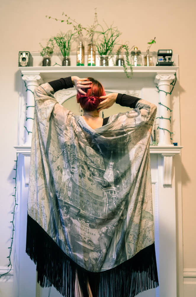 Norwegian Wood Fringe Robe - Silk Chiffon | Hattie Watson Collaboration | Model: Victoria Dagger | Photo © Alyxander Ryan
