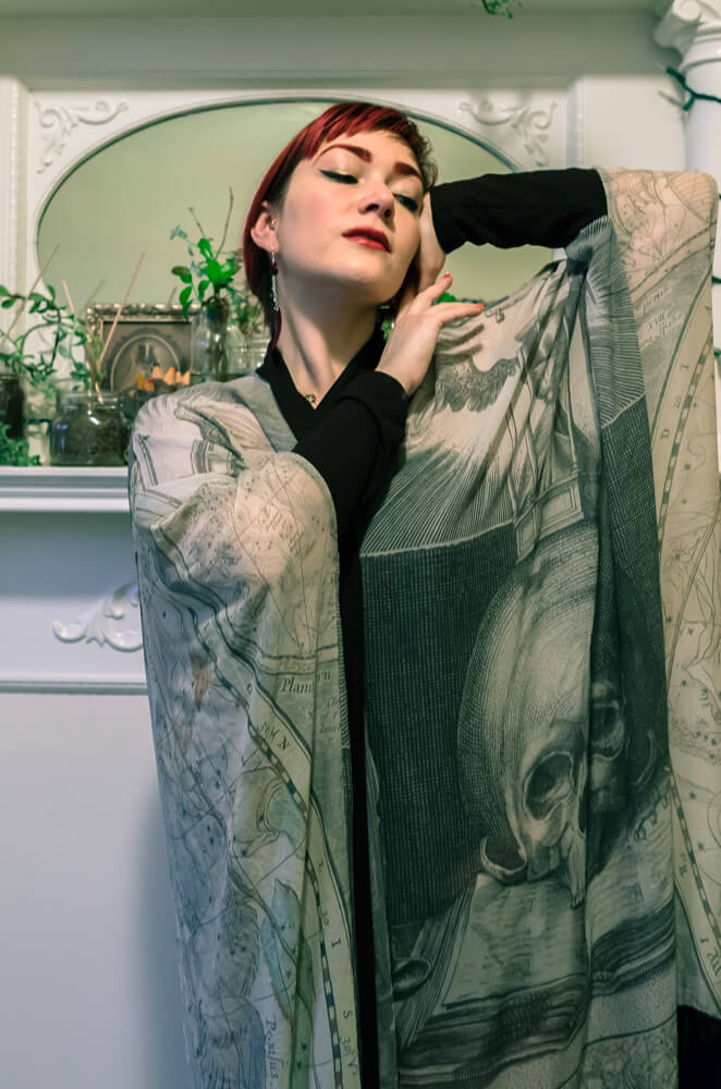 Norwegian Wood Fringe Robe - Silk Chiffon | Hattie Watson Collaboration | Styled with Dollymop for Dark Garden corset gown | Model: Victoria Dagger | Photo © Alyxander Ryan