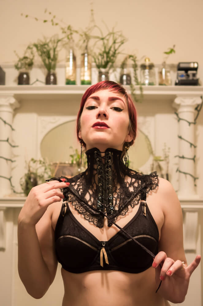 Decadent Designs Black Lace Neck Corset | Model: Victoria Dagger | Photo © Alyxander Ryan
