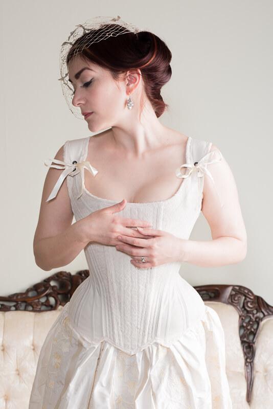 Corset and bridal ensemble by Laurie Tavan | Model: Victoria Dagger | Photo © Martin Ave Photo