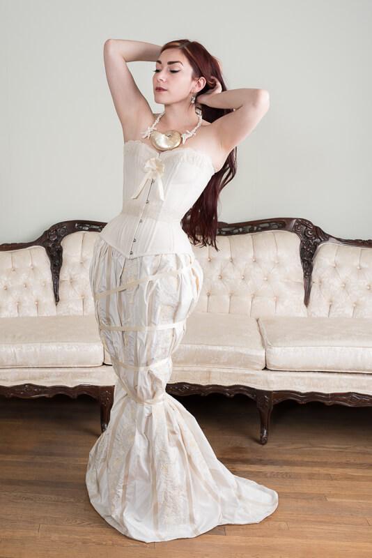 Laurie Tavan mermaid bridal corset ensemble | Model: Victoria Dagger | Photo © Martin Ave Photo