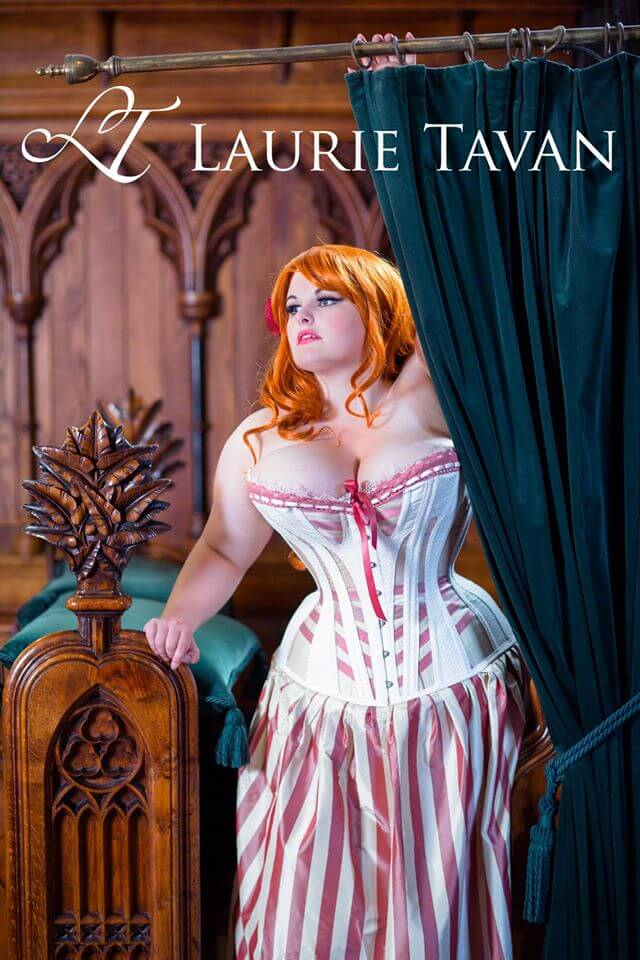 Laurie Tavan pink and cream overbust corset | Model: Evie Wolfe | Photo © Chris Murray