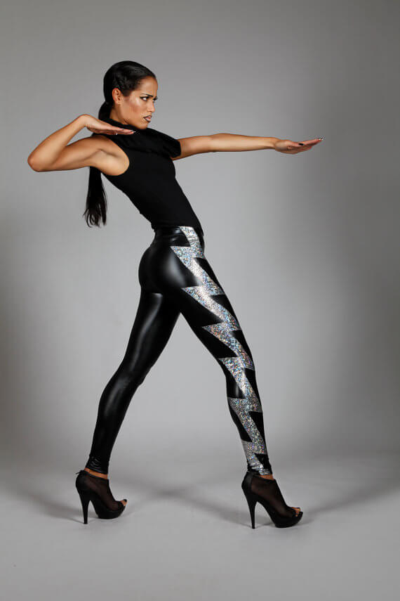 Lena Quist hologram lightning bolt leggings