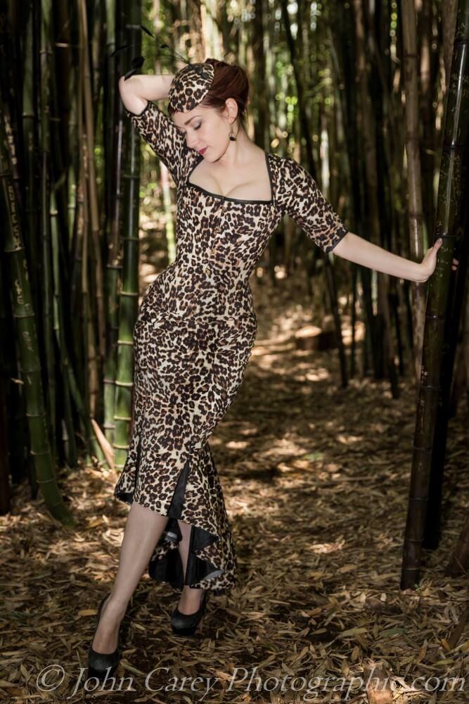 Dollymop for Dark Garden leopard print corset ensemble   Model: Victoria Dagger   Photo © John Carey