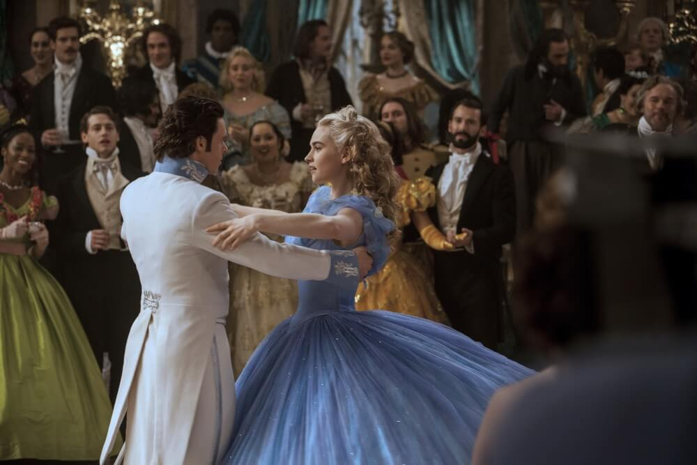 A side view of Lily James in her Cinderella ballgown. Notice how her waist is about the same width from this perspective as from the front - it's been sculpted to a circular, rather than oval, shape to further the illusion of tinyness.