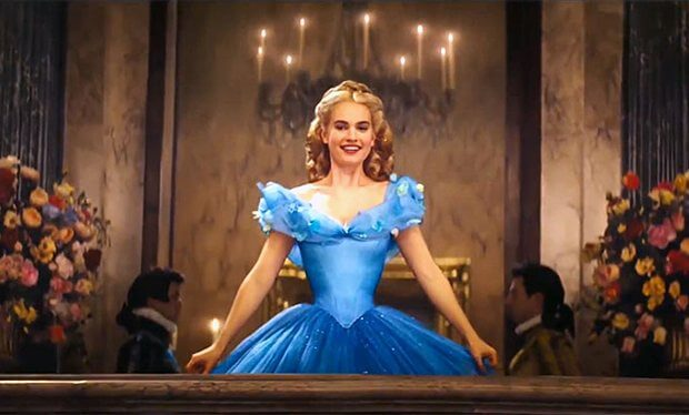 Lily James in a corseted ballgown in Cinderella.