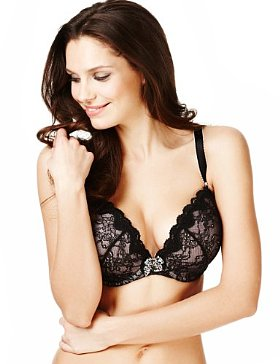 Limited Collection Floral Lace Plunge Non-Padded GG-J Bra - £14.00 (approximately $22.93)