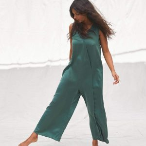 Loungewear Review: Lunya Washable Silk Double V Jumpsuit