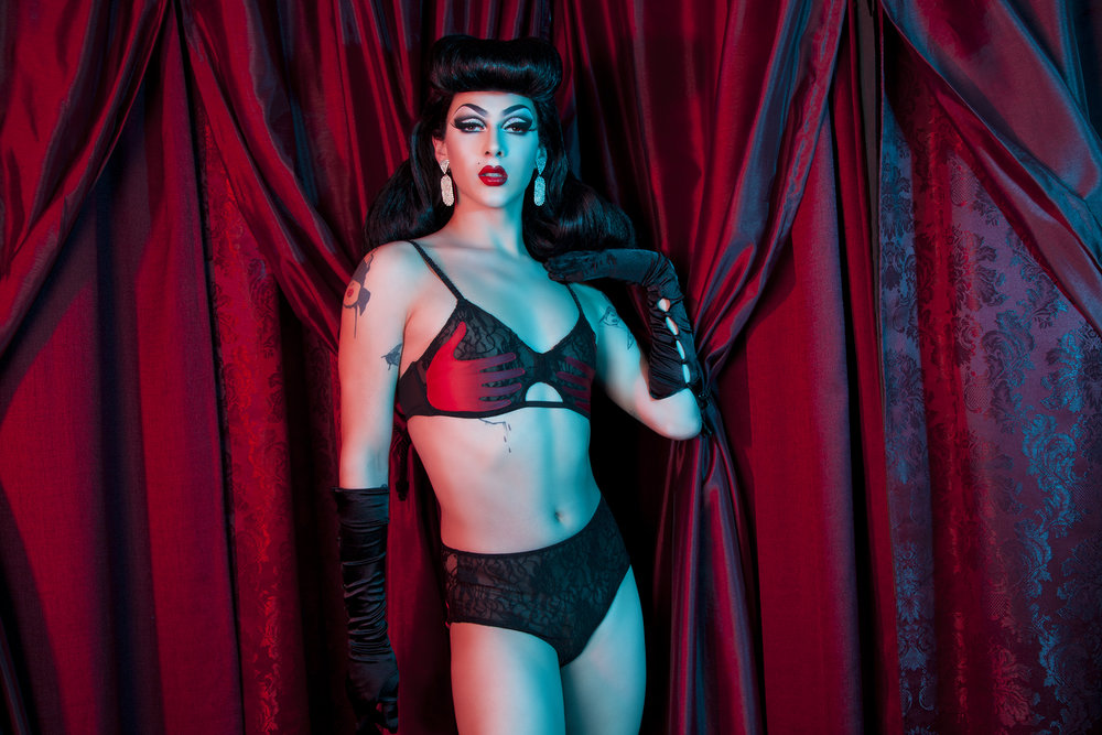 Violet Chachki, a genderqueer drag performer and model, for queer-friendly lingerie brand, Playful Promises