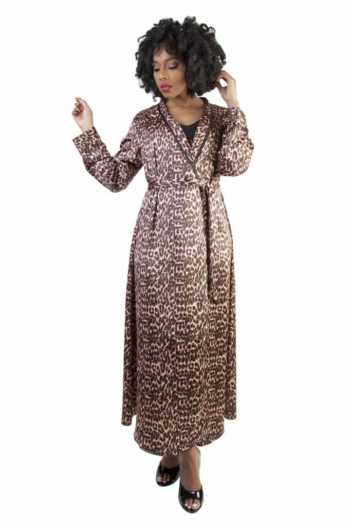 Leopard Print Satin Robe by Bettie Page