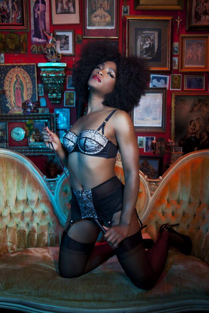 Bettie Page Lingerie Retro Eyelash Lace Bra ($57), Lace 4 Strap Suspender Belt ($57) and Mesh Classic Brief ($19)