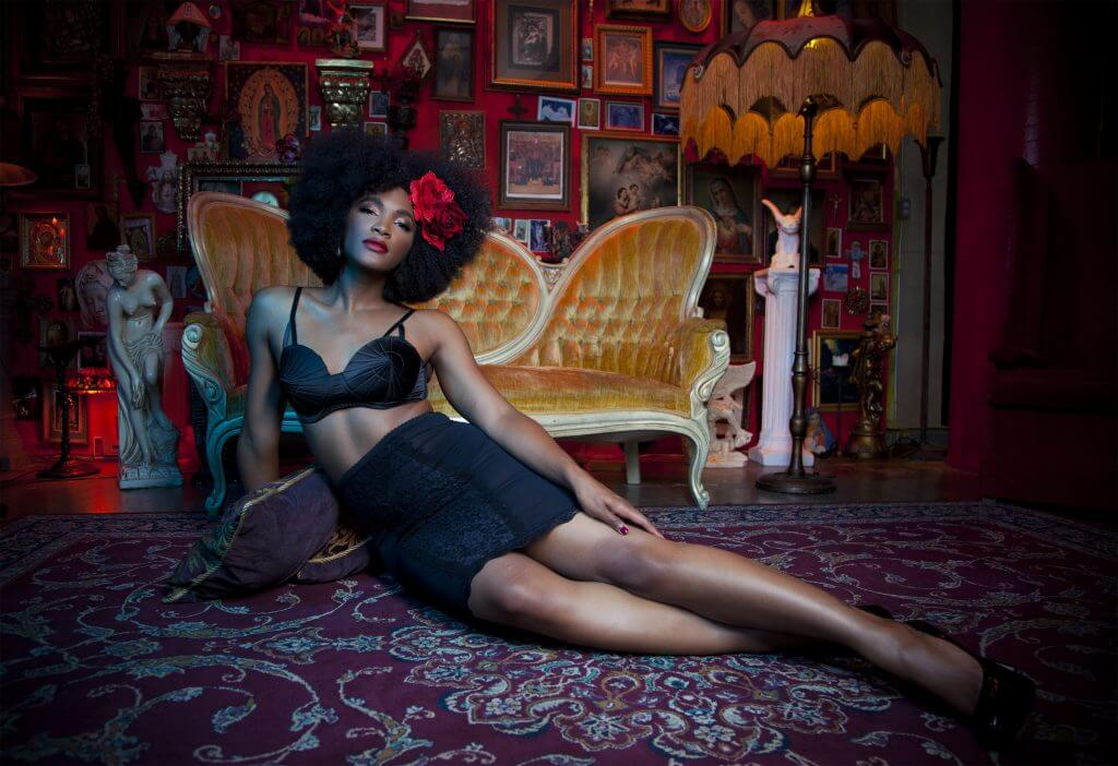 Bettie Page Retro Futuristic Bullet Bra ($32) in size L and Lingerie Skirt ($45) in size M.