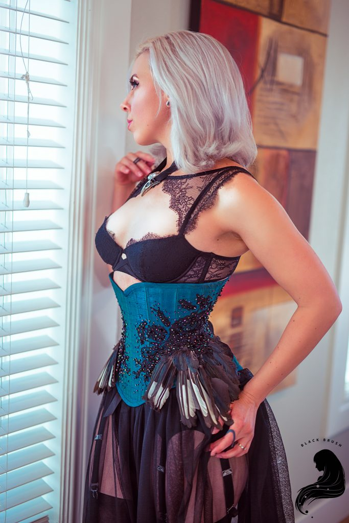 "Lovely Rats ""Magpie"" corset. Model: Heidi of Strait-Laced Dame Corsetry."