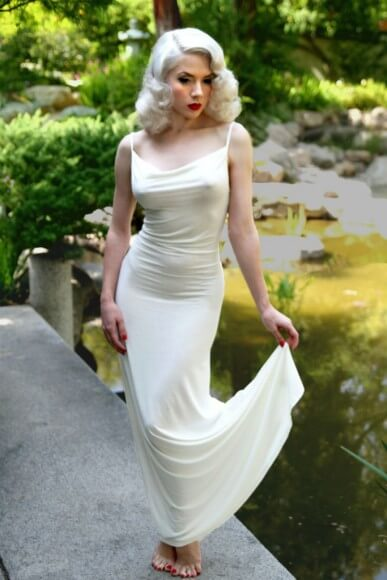 Mosh in Catherine D'Lish Jacqueline Gown