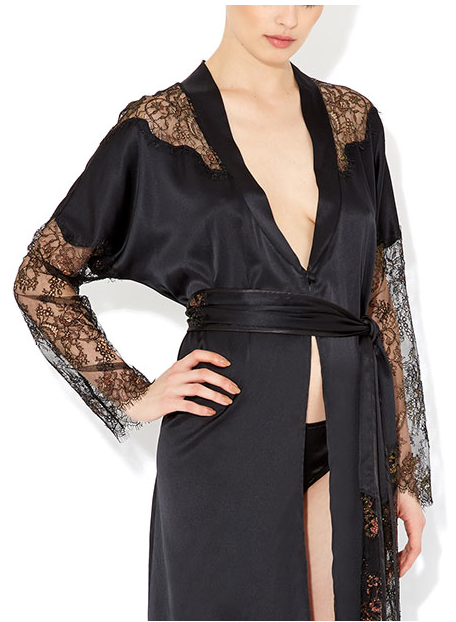 Myla - Eden Long Robe - Silk robe with Leavers lace panels