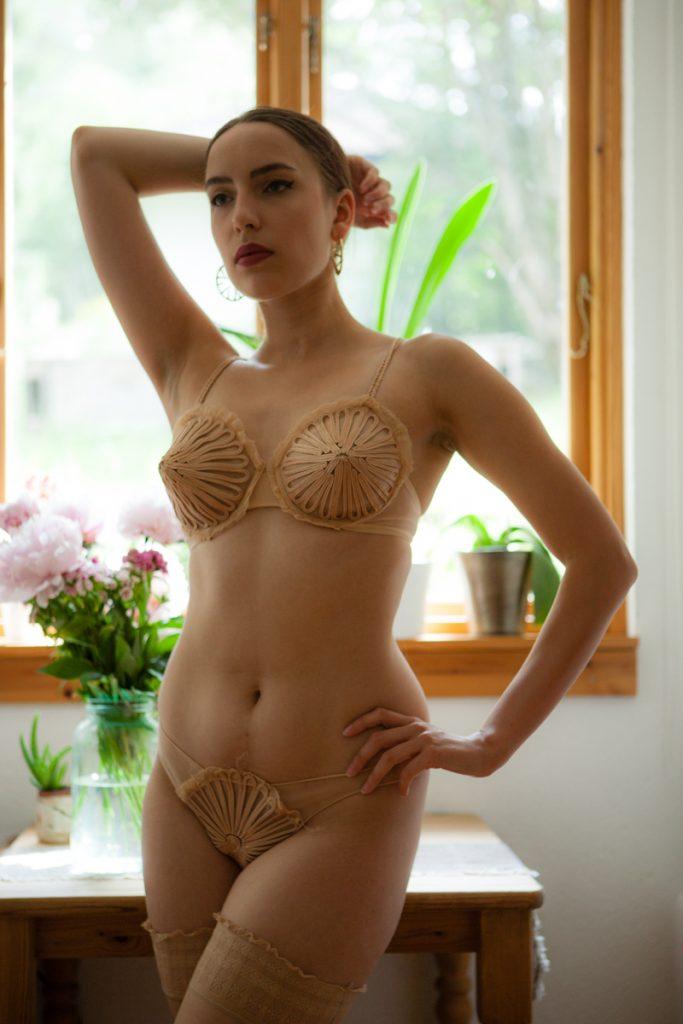 'Feuillage' cone bra and knickers by Jean Paul Gaultier for La Perla. Photography by K. Laskowska