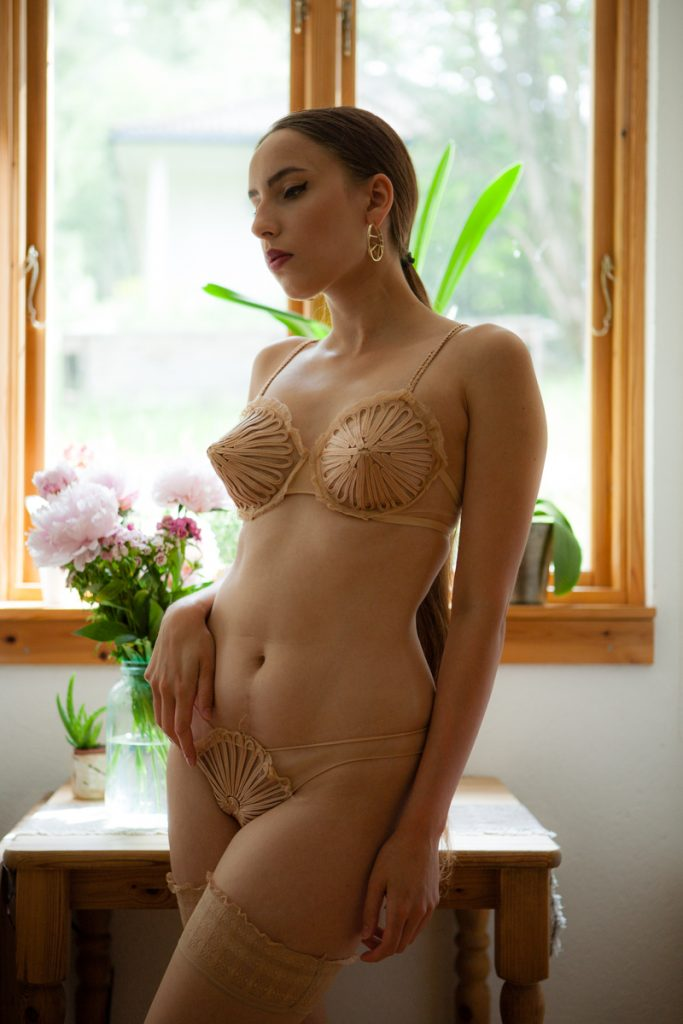 'Feuillage' cone bra and brief by La Perla. Photography by K. Laskowska