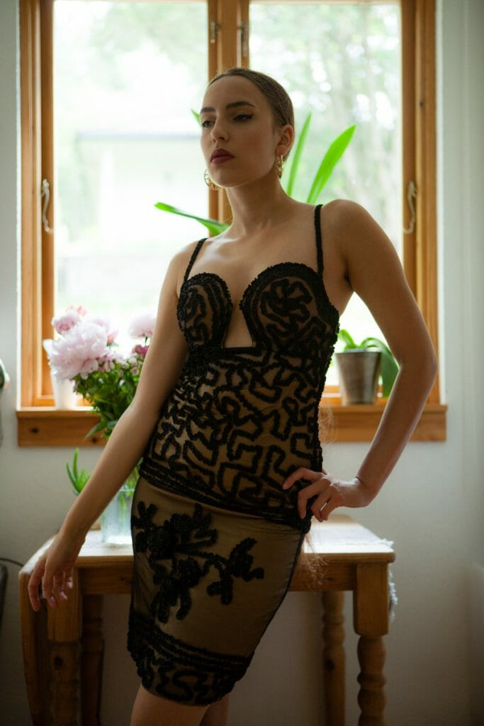 'Rubans' cupped dress by Jean Paul Gaultier for La Perla. Photography by K. Laskowska