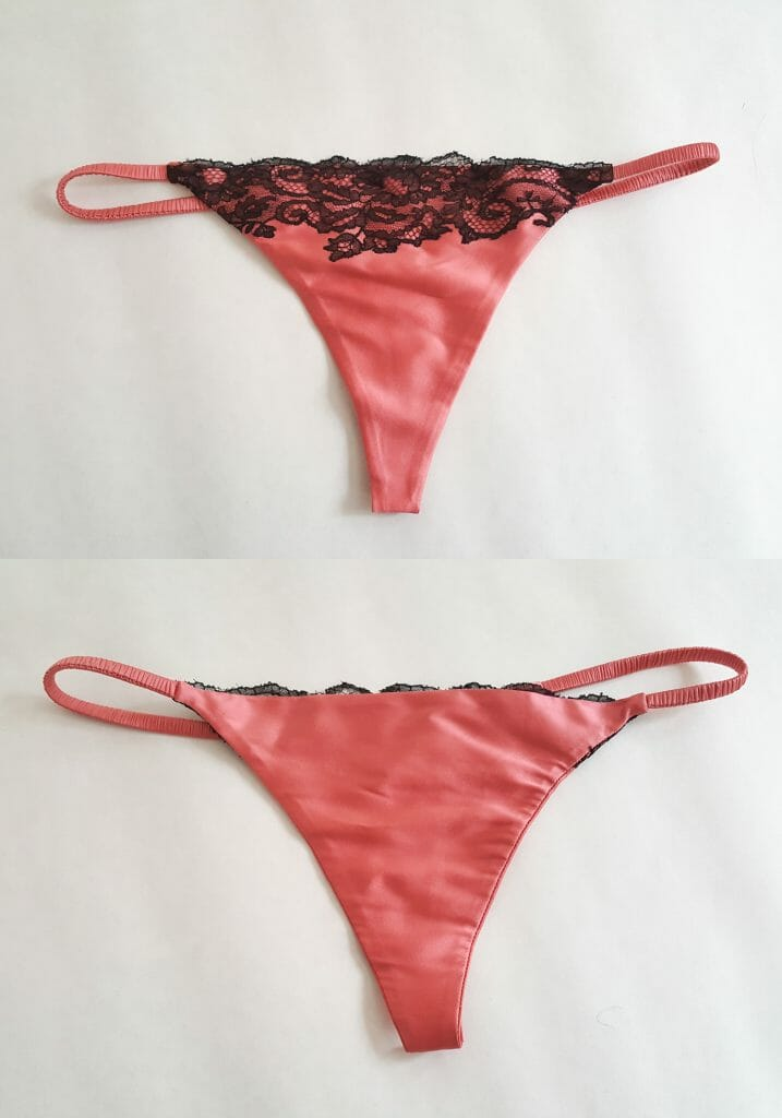 This Carine Gilson thong is fully lined in silk, which completely hides all stitches and construction details. This is a very expensive lining technique that requires a great deal of skill, time and hand finishing. You will only find it in particularly high-end luxury lingerie. Photo by K Laskowska