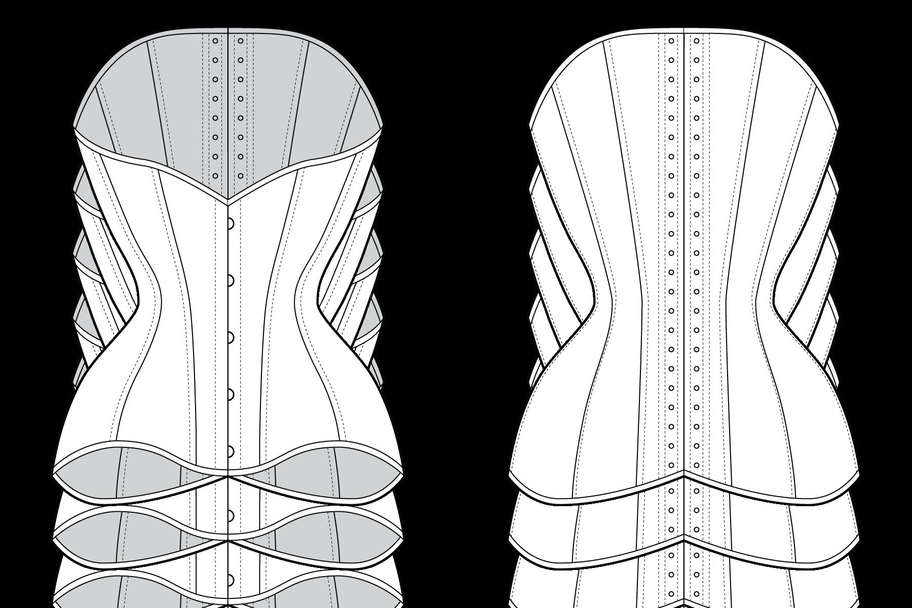 "Illustration for Pop Antique ""Ingenue"" corset, ©Marianne Faulkner/Pop Antique"