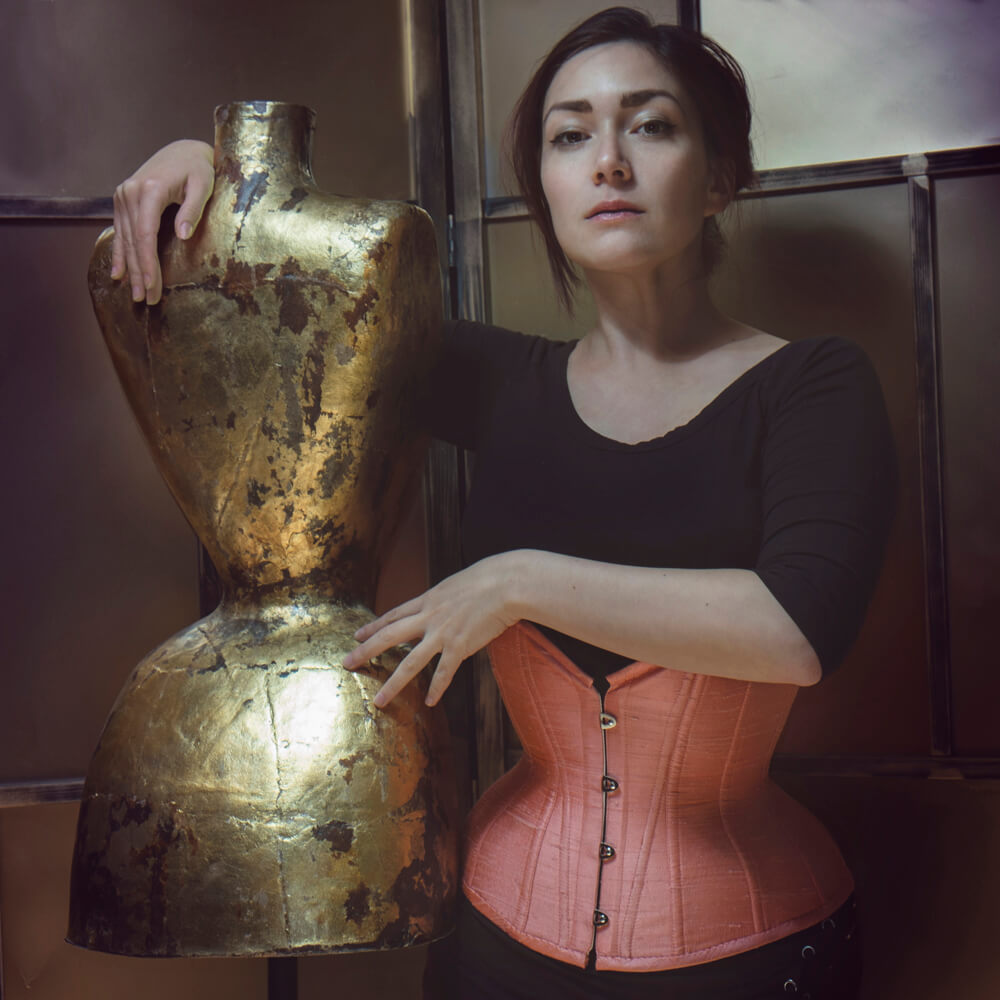 "Pop Antique ""Sherbert Doll"" custom underbust corset with smooth interior and exterior construction 