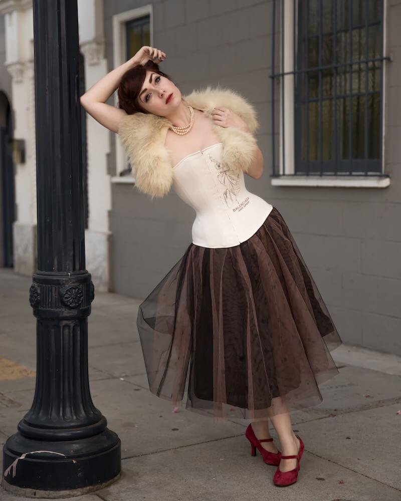 Pop Antique t-shirt corset & vintage fur stole | Victoria Dagger | © John Carey