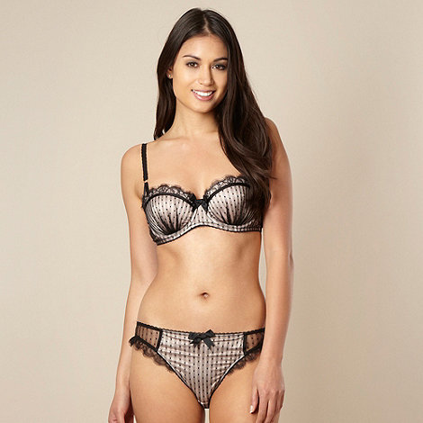 Reger by Janet Reger Designer black mesh and lace balcony bra - £22.50 (appxorimately $36.85)