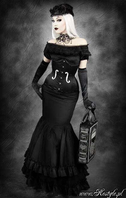 "Restyle black satin underbust ""VIOLIN"" longline corset"