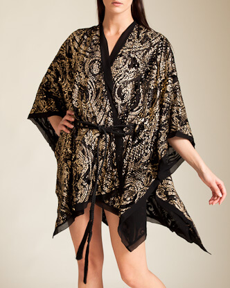 Roberto Cavalli - Velour Devore Barok Robe - Nancy Meyer - Gold and velour flocking with silk georgette border and tassel trim