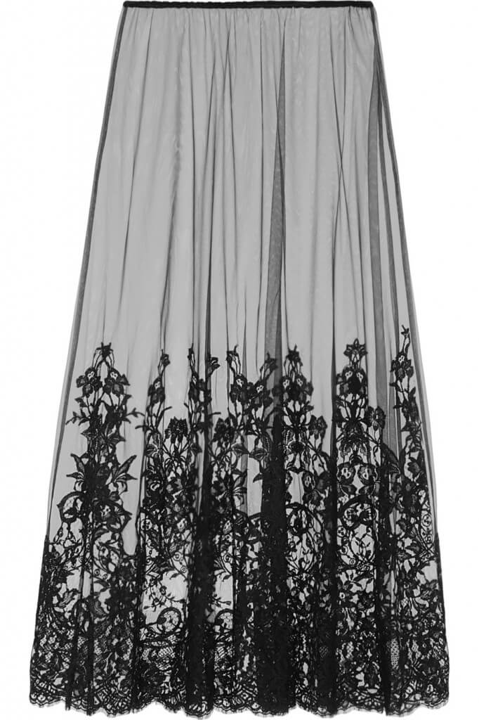 This tulle maxi skirt form Rosamosario uses lace appliqué along the entire hem