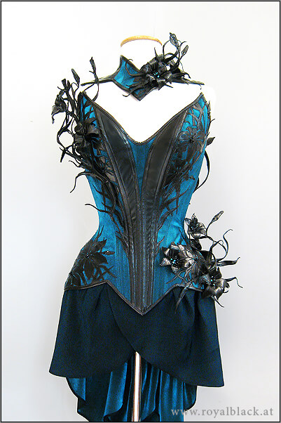 "Royal Black couture corset ""Mystique Lillies"""