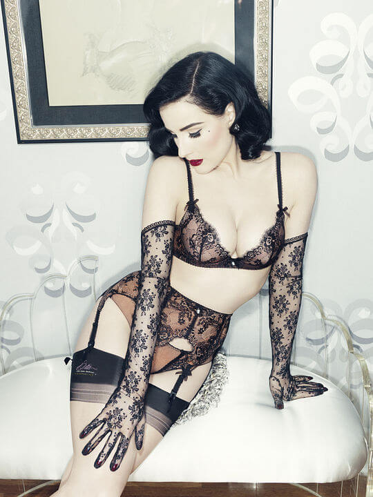 Dita modeling Savoir Faire from her Von Follies collection.