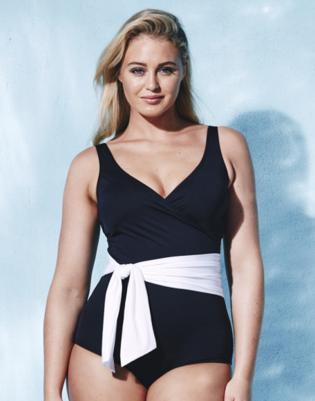 Black and white one piece at Simply Be.