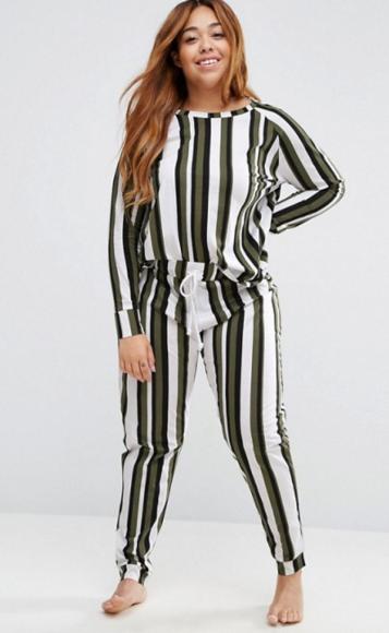Asos Curve Lounge Khaki Stripe Set