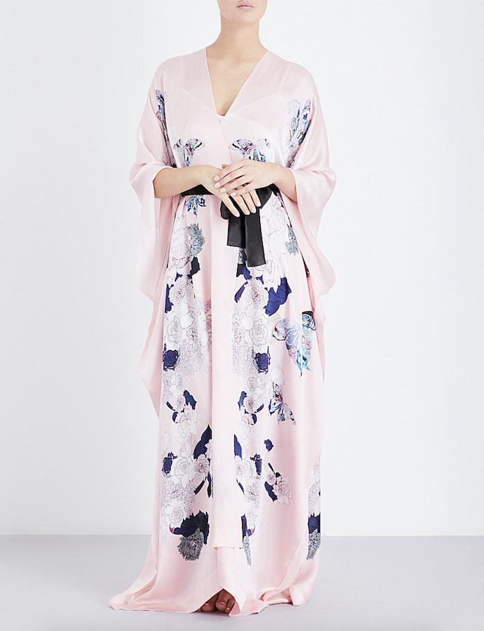 Meng Floral Print Silk Georgette Kaftan